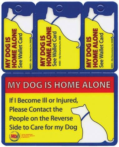 photograph about My Dog is Home Alone Card Printable referred to as Canine Wallet Card/Secret Tags - Triton Animal
